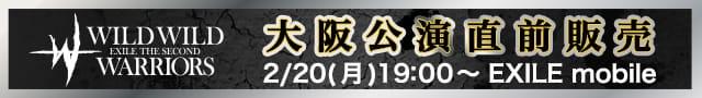 "EXILE THE SECOND LIVE TOUR 2016-2017 ""WILD WILD WARRIORS"" 再追加(大阪)直前販売"